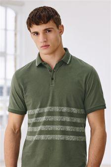 Khaki Printed Stripe Polo Shirt