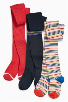 Red Stripe Tights Three Pack (3-16yrs)