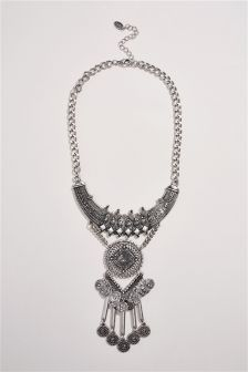 Silver Tone Boho Statement Necklace