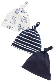 Navy Bear Tie Top Hats 3 Pack (0-18mths)