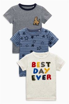 Ecru Nep Best Day Ever Short Sleeve T-Shirts Three Pack (3mths-6yrs)