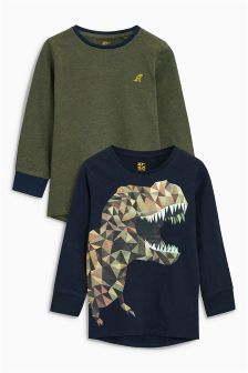 Navy/Stripe Long Sleeve Dino T-Shirts Two Pack (3-16yrs)