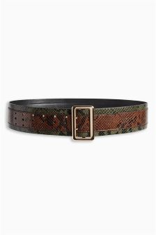 Khaki Wide Faux Snake Skin Belt
