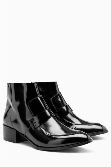 Black Leather Loafer Boots
