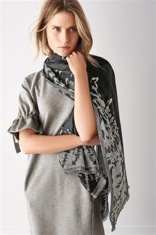 Grey Mix Jacquard Scarf