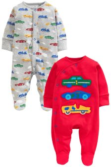 Red Cars Sleepsuits 2 Pack (0mths-2yrs)