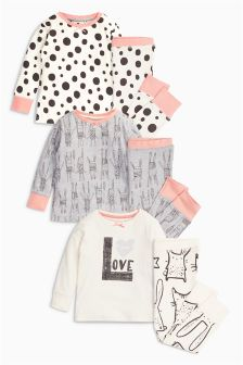 Grey/Ecru Bunny Snuggle Pyjamas Three Pack (9mths-8yrs)