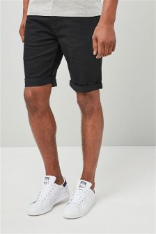 Black Regular Fit Denim Shorts