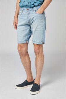 Denim Bleach Regular Fit Shorts