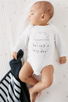 Monochrome Lazy Days Long Sleeve Bodysuit (0-18mths)