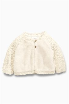 Ecru Knitted Fleece Cardigan (0mths-2yrs)