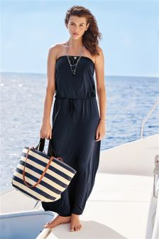 Blue Jersey Pull-On Maxi Dress With Lace Side Panels