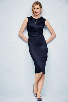 Navy Premium Linen Blend Dress