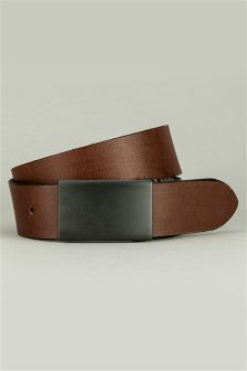Black/Brown Reversible Gunmetal Plaque Belt