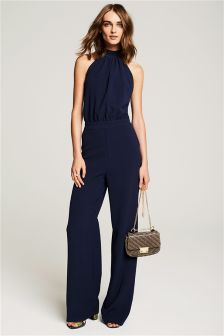Navy Strap Back Jumpsuit