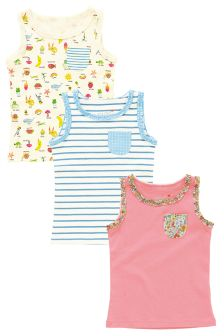Multi Bright Vests Three Pack (3mths-6yrs)