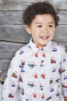 Grey Christmas Print Shirt (3mths-6yrs)