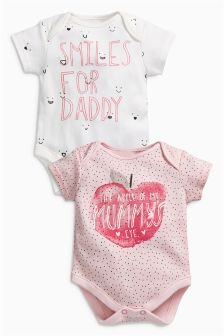 Pink Apple Mummy And Daddy Short Sleeve Bodysuits Two Pack (0mths-2yrs)
