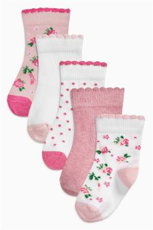 Pink/White Floral Socks Five Pack (Younger Girls)