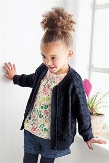 Navy Lace Bomber (3mths-6yrs)