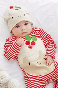 Red/White Little Pudding Dress Up Sleepsuit And Hat (0-18mths)