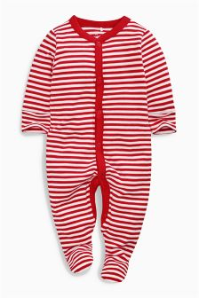 Red/White Stripe Sleepsuit (0mths-2yrs)