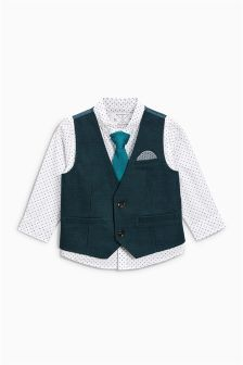 Green Waistcoat With Shirt And Tie (3mths-6yrs)
