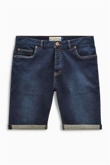 Mid Wash Denim Skinny Fit Shorts