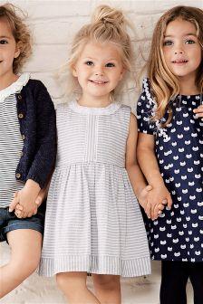 Grey Stripe Ruffle Dress (3mths-6yrs)