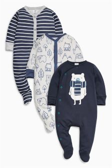 Navy Bear Sleepsuits Three Pack (0mths-2yrs)