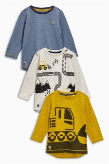 Ochre/Blue Long Sleeve Digger Tops Three Pack (3mths-6yrs)