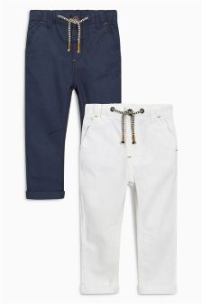 Navy/White Linen Rich Trousers Two Pack (3mths-6yrs)