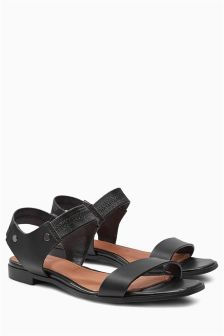 Black Elasticated Two Part Sandals