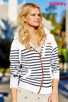 White Superdry Stripe Zip Through Hoody