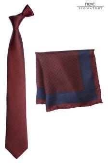 Signature Silk Tie And Pocket Square Set