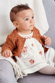 Ecru Fox Embroidered Dress (0mths-2yrs)