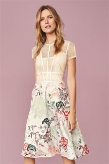 Blush Vintage Caged Prom Printed Dress