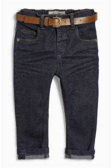Dark Blue Stretch Belted Jeans (3mths-6yrs)