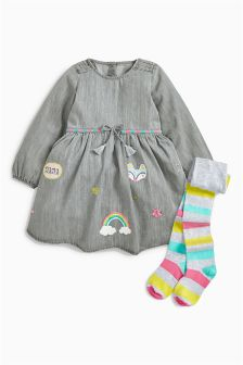 Denim Character Dress And Tights (3mths-6yrs)