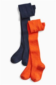 Orange/Navy Tights Two Pack (3-16yrs)