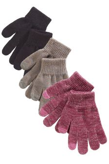 Pink, Grey And Black Gloves 3 Pack (Older Girls)