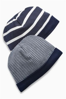 Navy Stripe Hats Two Pack (0-18mths)