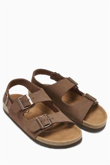 Brown Buckle Back Strap Sandal