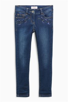 Mid Blue Embellished Skinny Jeans (3-16yrs)