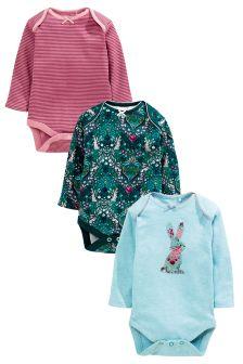 Teal Long Sleeve Bunny Bodysuits 3 Pack (0mths-2yrs)