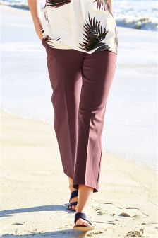 Plum Slim Cropped Trousers