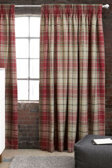Morcott Woven Check Pencil Pleat Curtains