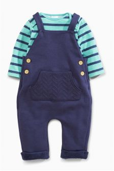 Navy Jersey Dungarees (0mths-2yrs)