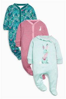Teal Bunny Sleepsuits Three Pack (0mths-2yrs)