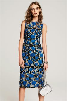 Cobalt Floral Embroidered Bodycon Dress
